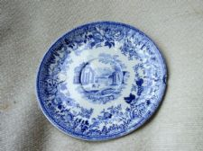 ANTIQUE BLUE TRANSFER SAUCER TEXTURED WITH LOVELY FLORAL RURAL DESIGN
